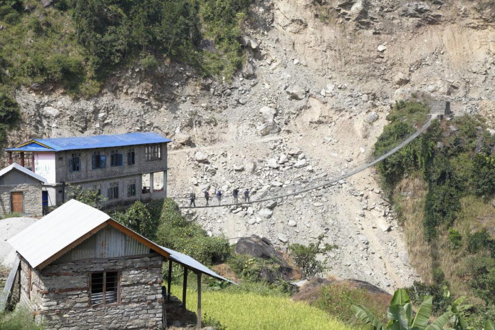 Nepal, Manaslu, Tsum Valley, Trekking, Wandern, Himalaya, Hängebrücke