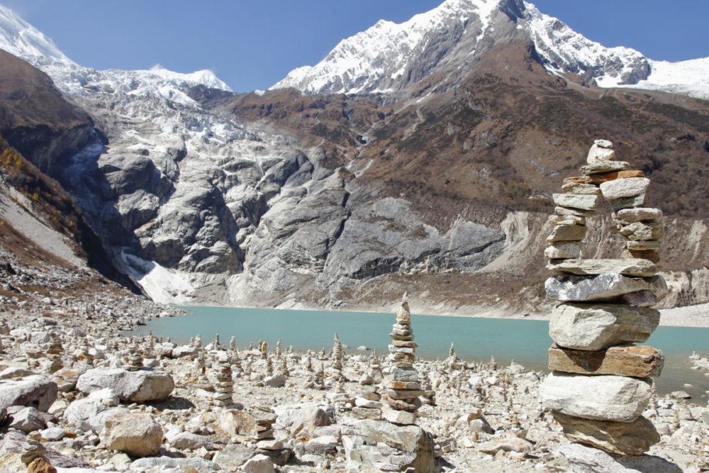 Nepal, Manaslu, Tsum Valley, Trekking, Wandern, Himalaya, Gebierssee, Gletscher