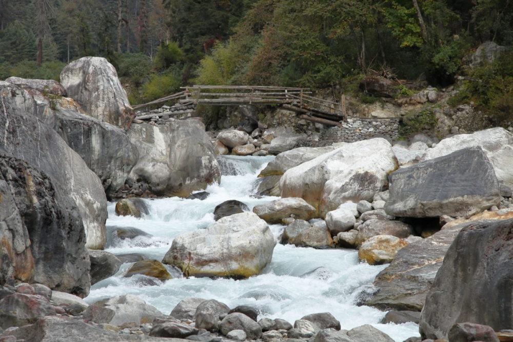 Manaslu, Tsum Valley, Trekking, Wandern, Himalaya, Brücke, Hängebrücke